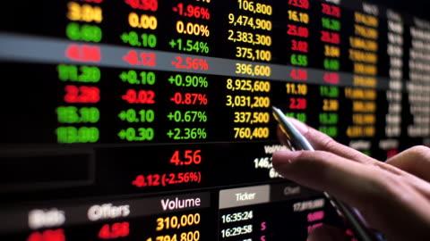 vidéos et rushes de homme d'affaires analysant sur des données de marché boursier sur le moniteur d'ordinateur - risque