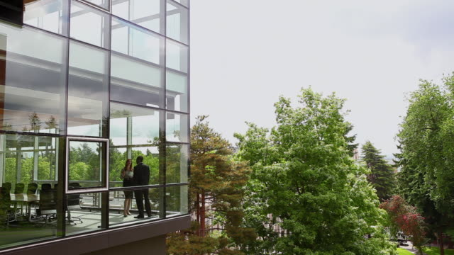 stockvideo's en b-roll-footage met ws businessman and businesswoman in discussion in glass walled conference room view from outside/seattle, washington, usa - trust