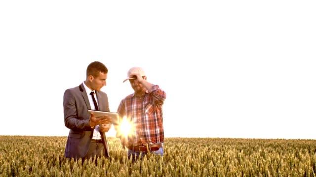 vidéos et rushes de slo mo homme d'affaires et agriculteur à l'aide d'une tablette numérique - costume habillé