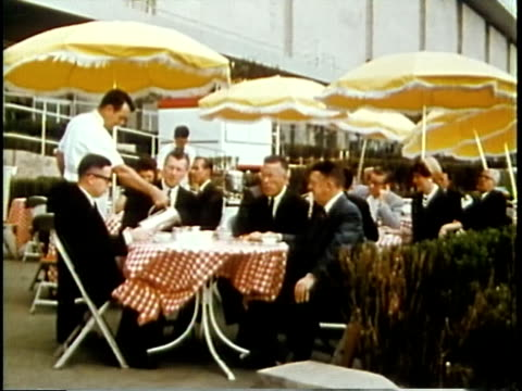 1963 MONTAGE Businessman at outdoors restaurant tables/ Children paitning in outdoor park / Chicago, United States / AUDIO