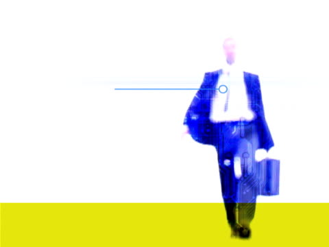 vidéos et rushes de businessman carrying briefcase with circuitry background - procédé croisé
