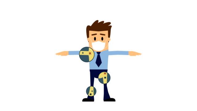 businessman cartoon, coronavirus (covid-19) animation, alpha-kanal, loopable. - biomedical illustration stock-videos und b-roll-filmmaterial