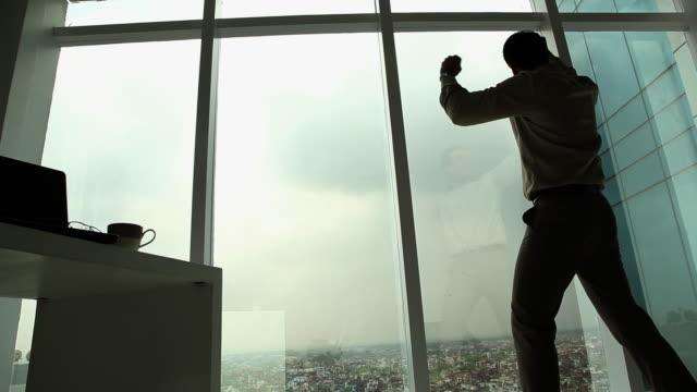 vídeos y material grabado en eventos de stock de businessman celebrating his success  - puño