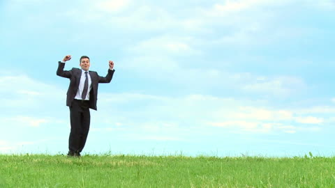 hd slow-motion: businessman celebrating - full suit stock videos & royalty-free footage