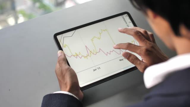 affärsman som kontrollerar och analyserar diagram på digital surfplatta i office-rummet - affärsstrategi bildbanksvideor och videomaterial från bakom kulisserna