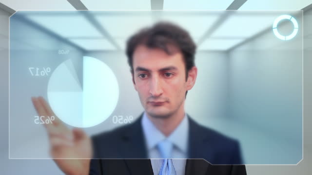 Businessman checking data on touch screen