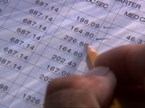 vídeos y material grabado en eventos de stock de businessman checking figures - hoja de cálculo