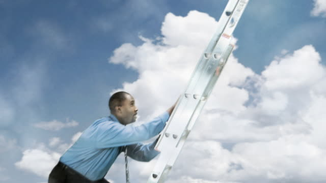 businessman climbing ladder - ladder stock videos and b-roll footage
