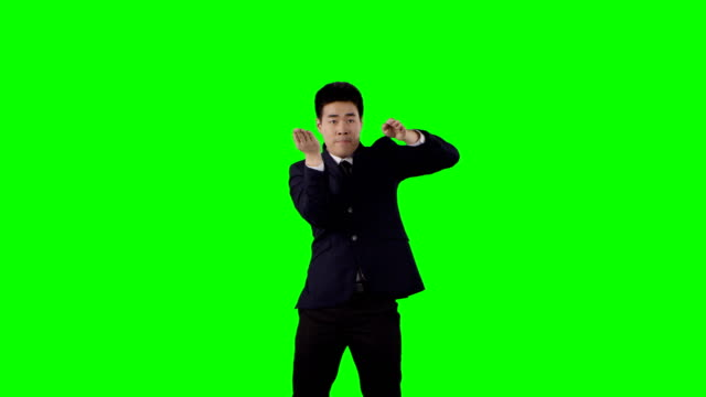 businessman dancing. crazy break at work. green screen with alpha - flexibility stock videos & royalty-free footage