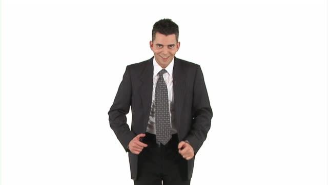 vídeos de stock, filmes e b-roll de hd: empresário de dança - mãos cobrindo olhos