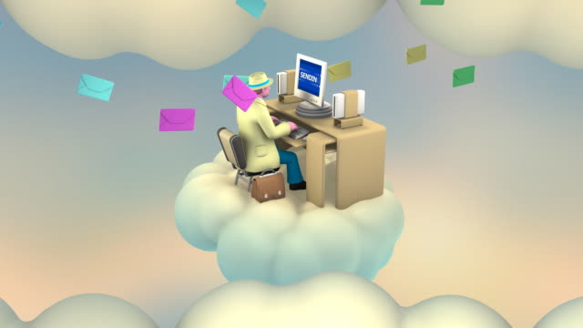 stockvideo's en b-roll-footage met businessman emailing sitting at his desk on a cloud (loop) - cloud computing