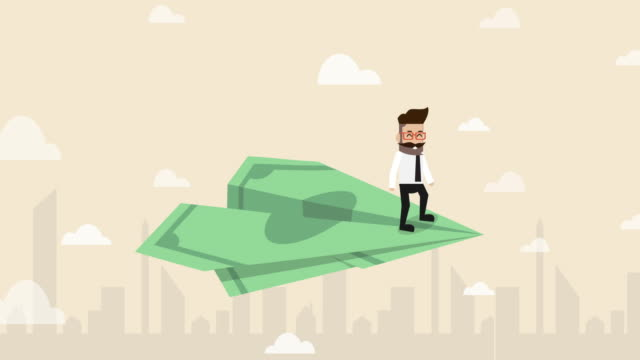 businessman flying with banknote paper plane with city background (business concept cartoon) - competition stock videos & royalty-free footage