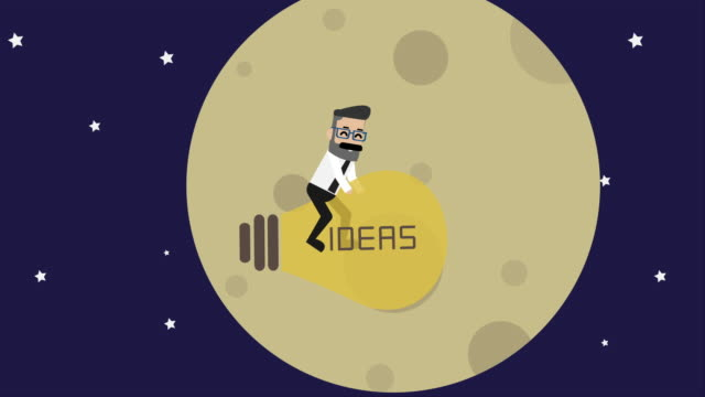 businessman flying with idea light bulb on the space (business concept cartoon) - opportunity stock videos & royalty-free footage