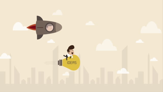 businessman flying with idea light bulb (business concept cartoon) - opportunity stock videos & royalty-free footage