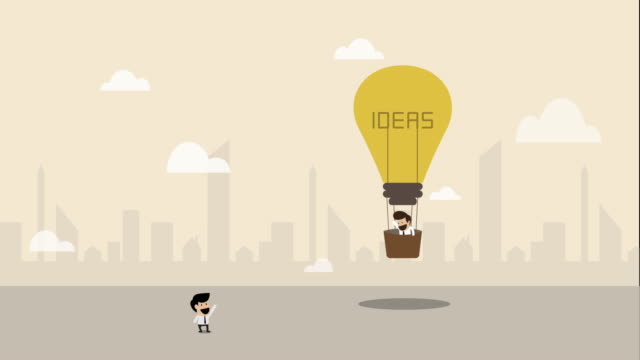 businessman flying with light bulb hot air balloon (business concept cartoon) - opportunity stock videos & royalty-free footage