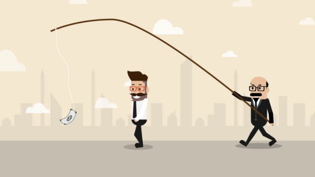 businessman following trapped money with boss controlling behind (business concept cartoon) - bossy stock videos & royalty-free footage
