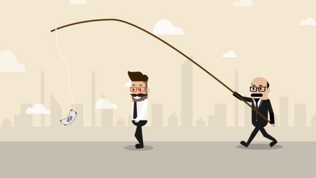 後ろの上司が支配する閉じ込められたお金に続くビジネスマン(ビジネスコンセプト漫画) - 褒美点の映像素材/bロール