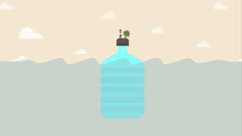 businessman get stuck on plastic bottle island (environment problem concept) - ruined stock videos & royalty-free footage