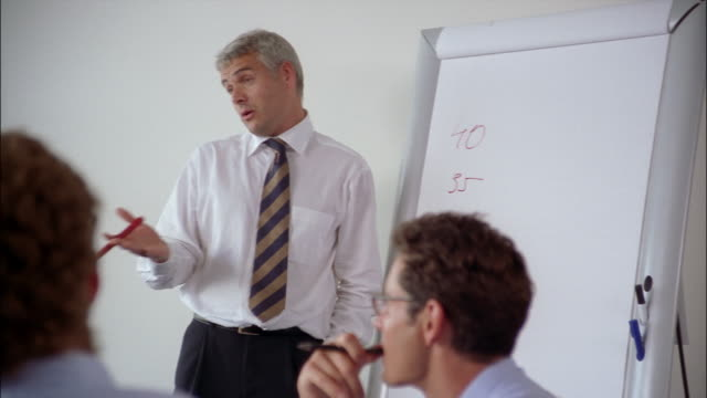 A businessman gives a presentation on an easel while his colleagues give input.