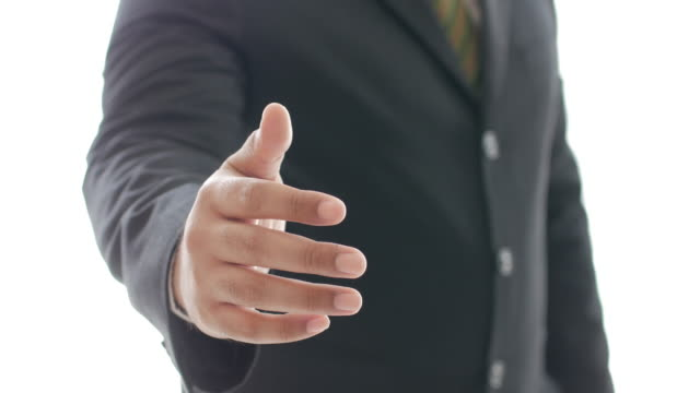 businessman giving a hand for handshake on white background , Business concept