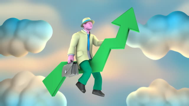 Businessman going Up on a Green Arrow (2 loops)