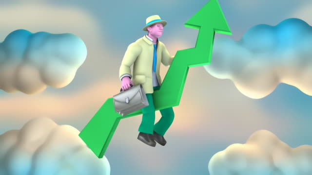 Businessman going Up (across the Screen) on a Green Arrow
