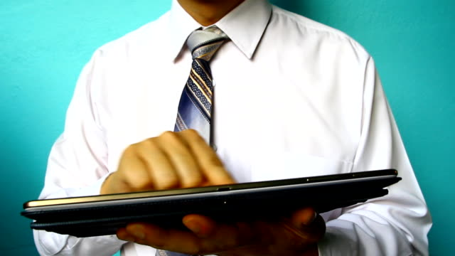 businessman hand click tablet - pushing stock videos & royalty-free footage