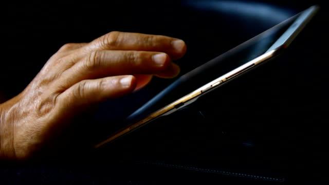 businessman hand click tablet