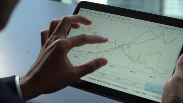businessman hands touching on digital tablet for analyze graph - finance and economy stock videos & royalty-free footage