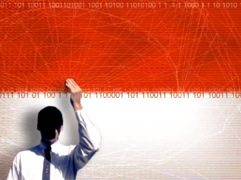 businessman holding up box with binary - only mid adult men stock videos & royalty-free footage