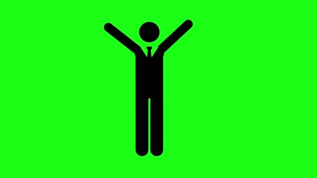 vidéos et rushes de icône d'homme d'affaires sur le fond vert d'écran avec l'activité - touche de couleur