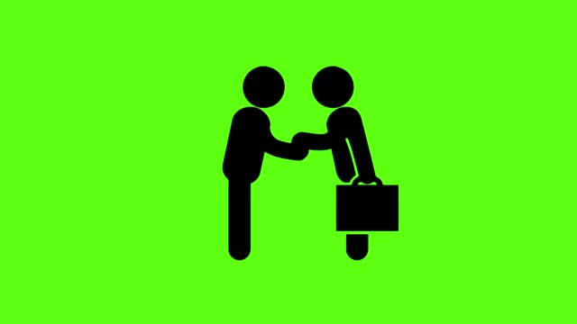 Businessman icon with handshake for business success on green screen background