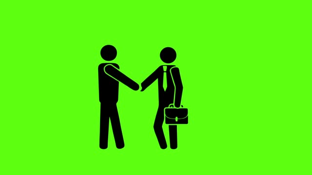 vídeos de stock e filmes b-roll de businessman icon with handshake for business success on green screen background - contrato