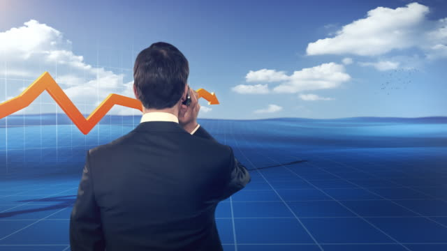 businessman in front of a 3d financial graph, stylized outdoor - sales team stock videos and b-roll footage