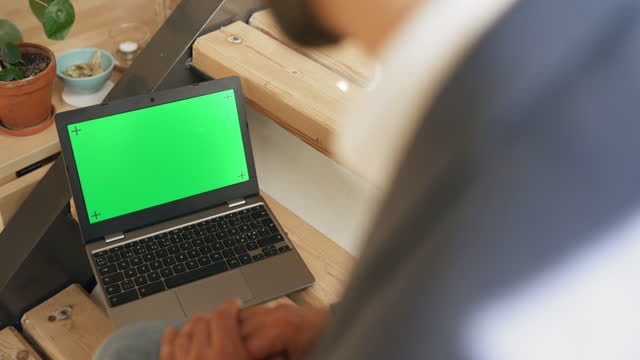 businessman in front of a laptop screen with chroma key - unrecognisable person stock videos & royalty-free footage