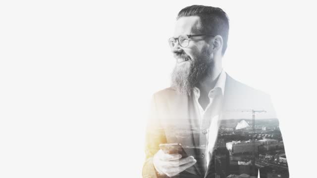 businessman in gothenburg - multiple exposure stock videos & royalty-free footage