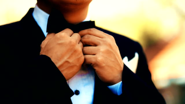 A businessman in suit is adjusting bow tie.