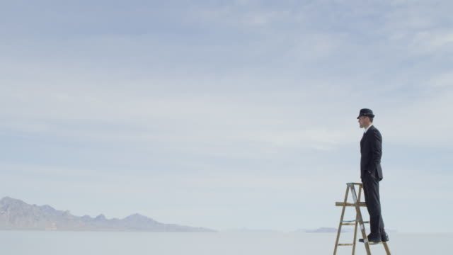 MS PAN Businessman in suit standing on ladder in middle of lake looking out