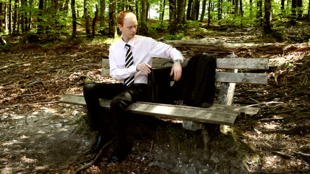 hd: businessman in the park - 全套西裝 個影片檔及 b 捲影像