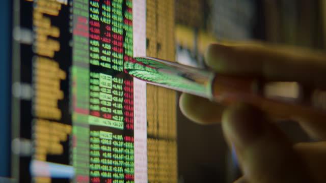 vidéos et rushes de l'homme d'affaires analyse les données boursières - anamorphose