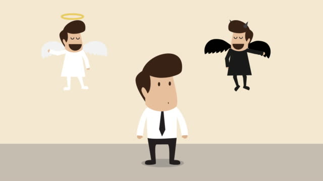 businessman is convincing by angle and demon  (business concept cartoon) - decisions stock videos & royalty-free footage