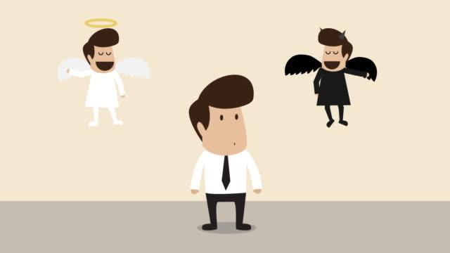ビジネスマンはアングルと悪魔によって説得力がある (ビジネスコンセプト漫画) - 説得点の映像素材/bロール
