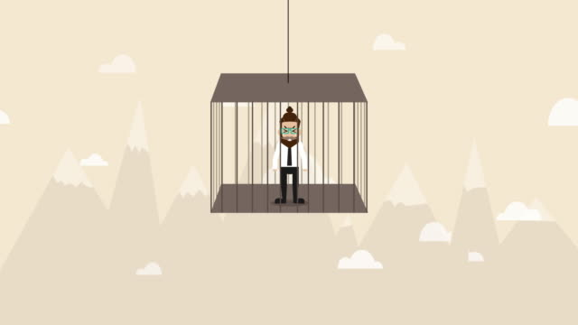 businessman is detained in cage and hanging over the air  (business concept cartoon) - chance stock videos & royalty-free footage