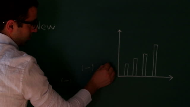 businessman is drawing bar chart on the board - bar graph stock videos & royalty-free footage