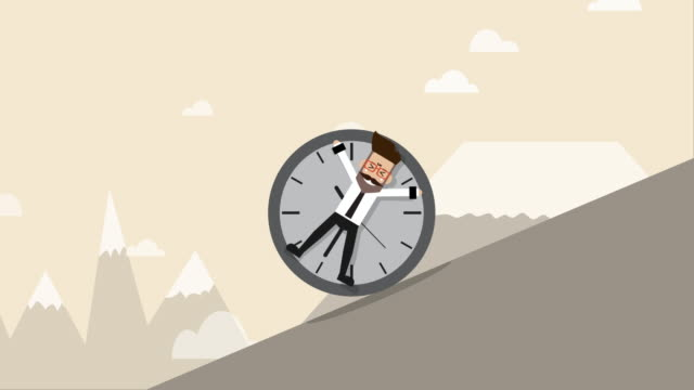 businessman is locked with clock and rolling down hill (business concept cartoon) - trapped stock videos & royalty-free footage