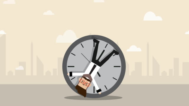 vídeos de stock e filmes b-roll de businessman is locked with clock and rolling forward - esperar