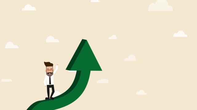 vídeos de stock, filmes e b-roll de o homem de negócios está movendo-se acima na seta acima verde (cartoon do conceito do negócio) - star shape