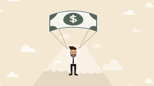 vídeos de stock, filmes e b-roll de o homem de negócios é pára-quedismo com nota de banco (cartoon do conceito do negócio) - star shape