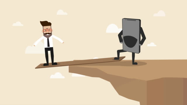 businessman is standing on the plank at the edge of the cliff with smart phone controlling over  (concept cartoon of social issue) - pressure point stock videos & royalty-free footage