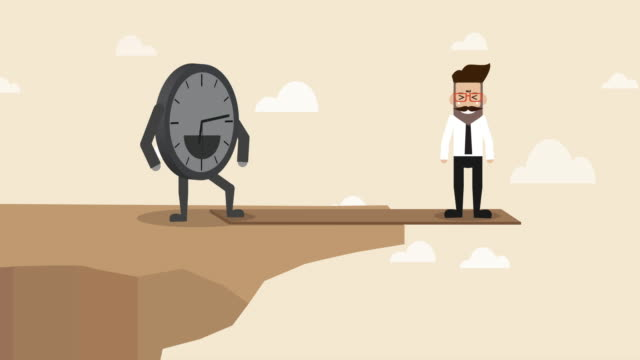 businessman is standing on the plank at the edge of the cliff with clock controlling over  ((concept cartoon of time is real boss ) - pressure point stock videos & royalty-free footage